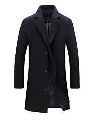 cheap -Men's Trench Coat Long Solid Colored Work Plus Size Fall Winter Fantastic Beasts Long Sleeve Cotton Black / Blushing Pink / Wine M / L / XL