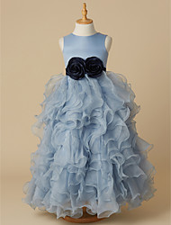 cheap -Ball Gown Floor Length Pageant Flower Girl Dresses - Organza / Satin Sleeveless Jewel Neck with Bow(s)