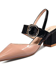 cheap -Women's Heels Low Heel Round Toe Patent Leather Comfort Summer Black / Pink / Beige