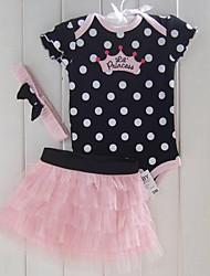 cheap -Infant Girls' Daily Polka Dot Short Sleeve Clothing Set Black