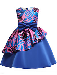 cheap -Kids Girls' Active Party Going out Floral Bow Sleeveless Dress Blue / Cute