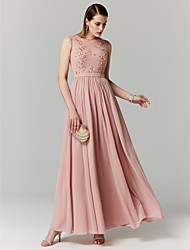 cheap -A-Line Elegant Floral Keyhole Prom Formal Evening Dress Illusion Neck Sleeveless Ankle Length Chiffon Tulle with Beading Appliques 2020