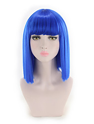 cheap -Synthetic Wig Straight Bob Wig Short Blue Synthetic Hair Women's Synthetic New Arrival Blue