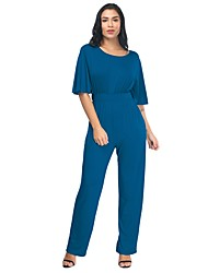 cheap -Women's Plus Size Daily / Holiday Basic / Street chic Black Wine Light Blue Loose Jumpsuit Onesie, Solid Colored Petal Sleeves L XL XXL High Waist Cotton Half Sleeve Spring Summer