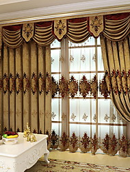cheap -Curtains Drapes Living Room Floral / Contemporary Cotton / Polyester Embroidery