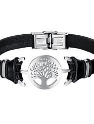 Недорогие -Муж. Кожаные браслеты Дерево жизни Мода Нержавеющая сталь Браслет Ювелирные изделия Черный Назначение Повседневные