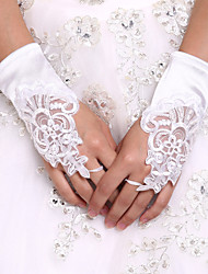 cheap -Stretch Satin Wrist Length Glove Luxury / Bridal Gloves / Party / Evening Gloves With Embroidery