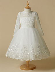 cheap -Princess Knee Length Wedding / First Communion Flower Girl Dresses - Lace / Tulle Long Sleeve Jewel Neck with Lace / Appliques