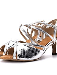 cheap -Women's Latin Shoes Sandal Heel Animal Print Flared Heel Gold Silver Clasp Lock Adults' Sparkling Shoes / Leather / Practice / Professional