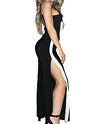 cheap -Women's Party / Daily Street chic / Sophisticated Strap Black Wide Leg Slim Romper Onesie, Color Block Backless S M L High Waist Sleeveless Spring Summer / Sexy