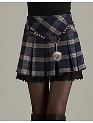 abordables -Femme Quotidien Sortie Mini Crochet Jupes - Couleur Pleine Rouge Bleu Marine L XL XXL
