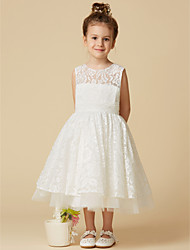 cheap -A-Line Tea Length Wedding / First Communion Flower Girl Dresses - Lace / Tulle Sleeveless Jewel Neck with Lace