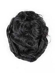 cheap -Men's Human Hair Toupees Wavy 100% Hand Tied / Man Weave