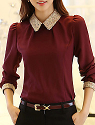 cheap -Women's Casual / Daily Weekend Street chic Blouse - Solid Colored Shirt Collar Black