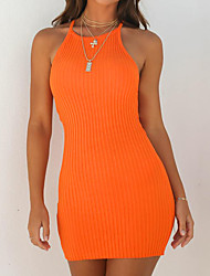cheap -Women's Basic Mini Skinny Bodycon Dress - Solid Colored Halter Neck Summer Black Orange M L XL / Sexy