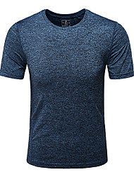 cheap -Men's Camo Hiking Tee shirt Short Sleeve Outdoor Breathable Quick Dry Fast Dry Sweat-wicking Tee / T-shirt Top Spring Summer Polyester Crew Neck Running Camping / Hiking Hunting Burgundy Grey Blue