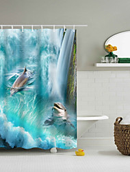 cheap -Shower Curtains & Hooks Classic Polyester Novelty Machine Made Waterproof Bathroom