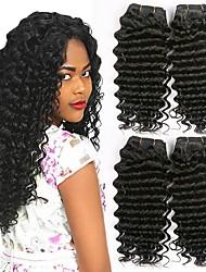 Недорогие -4 Связки Бразильские волосы Волнистый Натуральные волосы Человека ткет Волосы Накладки из натуральных волос Естественный цвет Ткет человеческих волос Удлинитель Горячая распродажа / 8A