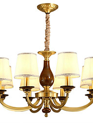 cheap -QINGMING® 8-Light 80 cm Mini Style Chandelier Metal Fabric Candle-style Brass Traditional / Classic / Country 110-120V / 220-240V
