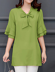 cheap -Women's Daily Holiday Basic / Street chic Plus Size Loose Blouse - Solid Colored V Neck Green / Summer / Lace up