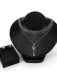 cheap -Women's Cubic Zirconia Jewelry Set Stud Earrings Pendant Necklace Ladies Fashion Zircon Rose Gold Plated Earrings Jewelry Gold For Daily Evening Party