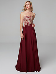 cheap -A-Line Strapless Floor Length Chiffon Elegant / Beaded & Sequin Prom / Formal Evening Dress 2020 with Appliques