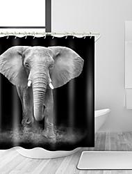 abordables -Rideaux de douche et anneaux Rustique Polyester Couleur Pleine Animal Fabrication à la machine Imperméable Salle de Bain