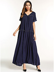 cheap -Women's Party Daily Basic Boho Maxi Loose Sheath Swing Dress - Solid Colored Beaded V Neck Spring Cotton Navy Blue L XL XXL