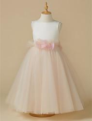 cheap -A-Line Tea Length Flower Girl Dress - Satin / Tulle Sleeveless Jewel Neck with Bow(s) / Flower