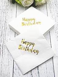 cheap -Pure Paper Wedding Napkins - 5 pcs Dinner Napkins Birthday Classic Theme