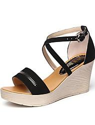 cheap -Women's Sandals Wedge Sandals Summer Wedge Heel Peep Toe Comfort Outdoor Office & Career Buckle Solid Colored Suede Walking Shoes Black