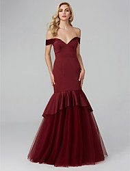 cheap -Mermaid / Trumpet V Wire Floor Length Satin / Tulle Elegant Formal Evening / Black Tie Gala Dress with Tier / Pleats 2020