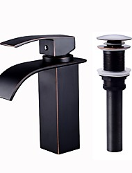cheap -Bathroom Sink Faucet - Waterfall Oil-rubbed Bronze / Painted Finishes / Black Centerset Single Handle One HoleBath Taps