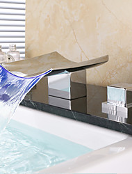 cheap -Bathroom Sink Faucet - Waterfall / Widespread Chrome Deck Mounted Two Handles Three HolesBath Taps / Brass