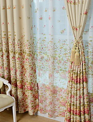 cheap -Sheer Curtains Shades Bedroom Geometric Cotton / Polyester Printed