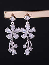 cheap -Women's Cubic Zirconia Drop Earrings Clip on Earring Leaf Korean Earrings Jewelry Silver For Wedding Evening Party One-piece Suit