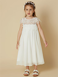 cheap -Sheath / Column Knee Length Wedding / First Communion / Holiday Flower Girl Dresses - Chiffon / Lace Short Sleeve Scoop Neck with Lace