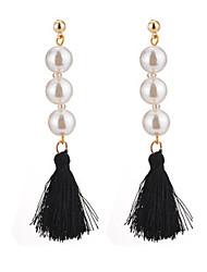 cheap -Women's Drop Earrings Dangle Earrings Tassel Ladies Tassel Bohemian Fashion Boho Earrings Jewelry White / Black For Wedding Party / Evening