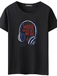 cheap -Men's Daily Basic T-shirt - Graphic Round Neck Black / Short Sleeve / Summer