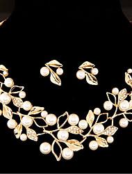 cheap -Women's Jewelry Set Leaf Flower Sweet Imitation Pearl Earrings Jewelry Gold / Silver For Wedding Party