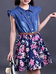 cheap -Girls' Floral Ruffle Daily Print Sleeveless Dress Blue