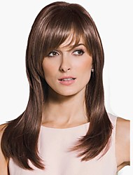 cheap -Synthetic Wig Straight Side Part Wig Long Medium Auburn Synthetic Hair Women's Natural Hairline Brown StrongBeauty