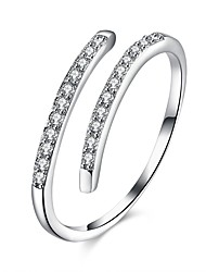 cheap -Women's Open Cuff Ring wrap ring Micro Pave Ring Cubic Zirconia tiny diamond Silver S925 Sterling Silver Geometric Ladies Fashion Party Daily Jewelry