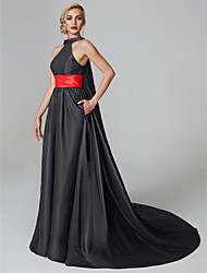 cheap -Ball Gown Halter Neck Court Train Satin Celebrity Style Cocktail Party / Formal Evening / Holiday Dress 2020 with Sash / Ribbon / Tassel / Pleats