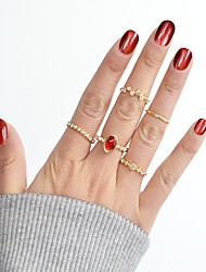 cheap -Ring Set Synthetic Tourmaline Gold Alloy Moon Star Ladies Basic Fashion 8pcs 7