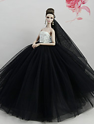 cheap -Doll Dress Party / Evening For Barbiedoll White / Black Tulle Lace Cotton Blend Dress For Girl's Doll Toy