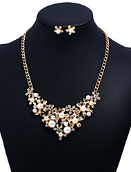 cheap -Women's Cubic Zirconia Jewelry Set Floral / Botanicals Flower Ladies Sweet Imitation Pearl Zircon Earrings Jewelry Gold For Party Graduation