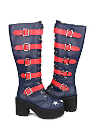 cheap -Women's Lolita Shoes Boots Gothic Lolita Punk Gothic High Heel Patchwork Stars 10 cm Ink Blue PU Leather / Polyurethane Leather Halloween Costumes