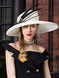 cheap -Flax Kentucky Derby Hat / Fascinators / Hats with Feather 1pc Special Occasion / Party / Evening / Horse Race Headpiece
