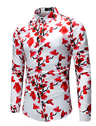 cheap -Men's Daily Going out Basic Shirt - Geometric Print Red